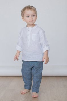 White Linen Shirt With Snaps For Boys / Mandarin Collar Shirt / Long Sleeve Linen Shirt / Boys Dress Boys Toddler Fashion Boys Linen Pants, Boys Denim Shirt, Boys Dress Shirts, Boys Shirts, Denim Shirts, Baby Boy Shirts, Baby Boy Dress, Baby Boy Outfits, Kids Outfits