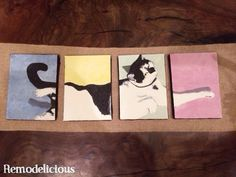 A Surprise in the Garage | Meow... painting on 4 small canvases with different color backgrounds. | Remodelicious