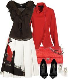 """Donna Karan Skirt"" by kim-zandvoort ❤ liked on Polyvore"