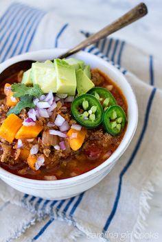 No Bean Turkey Sweet Potato Chili - Whole 30 Recipe