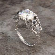 Moissanite & Diamond Dragonfly Engagement Ring by Krikawa on Etsy