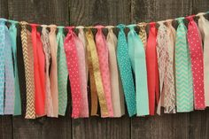Fabric Rag Garland Bunting Banner, CUSTOM, You Pick Colors/Theme, Great for Parties and Events