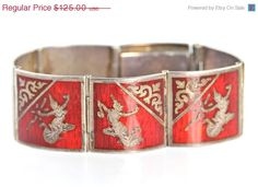 35% OFF SALE Vintage Siam Sterling Red Guillouche Enamel Siamese Dancer Link Bracelet