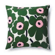 Marimekko Unikko Green / Pink Throw Pillow