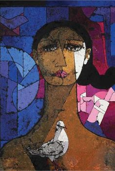 Jamil Naqsh mostly paints women and pigeons, and this obsession has won him local as well as international acclaim.