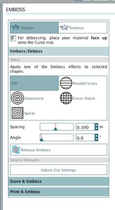 I'll be the first to admit that learning to emboss with Curio can be a little intimidating. Just like everything else, it's a process of trial and error. Lucky for you, I've done the dirty work to bring you my tips and tricks for a successful emboss every time.  The Basics:  When you connect Curio to your computer the design page should automatically change to Curio's 8.5 in x 6 in size. You can then change to the embossing mat by selecting Cutting Mat>Curio(emboss).   Once you have...