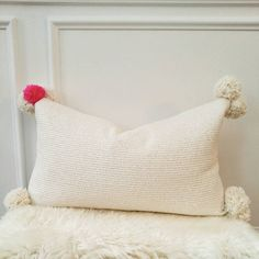 Ivory  metallic gold boucle pom pillow by viaMelinda on Etsy