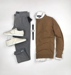 How To Wear Sweater & Shirt Like A Fashion Blooger — Casual outfits for guys. Casual street style for men Cool Outfits, Casual Outfits, Men Casual, Fashion Outfits, Casual Street Style, Street Style Looks, Minimalist Outfit, Mens Fashion Blog, Men's Fashion