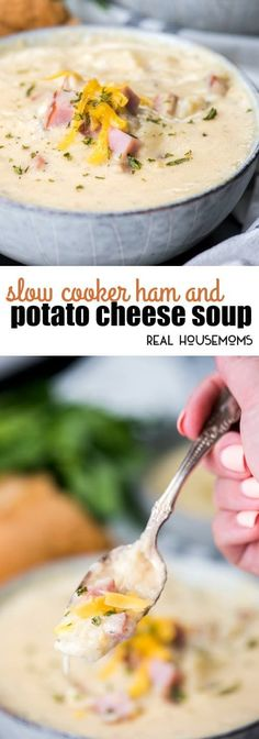 This super easy Slow Cooker Ham and Potato Cheese Souphas no morning prepinvolved! Just dump, go, and come home to a delicious meal the whole family loves! via @realhousemoms