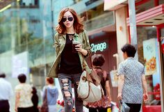 The Rok, Something Blue, Asian Fashion, Casual Looks, Color Pop, Military Jacket, Street Style, Style Inspiration, Couple Photos