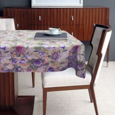 Beautiful and traditional Hydrangea Table Cloths and Place Mats featuring a lilac and pink hydrangeas sitting on hues of green in a tea stain background  Vinyl tablecloths with 100% Polyester felt backing. www.edslinens.com Pink Hydrangea, Hydrangeas, Lilac, Vinyl Tablecloth, Tablecloths, Tea Stains, Place Mats, Bath Accessories, Bedding Collections