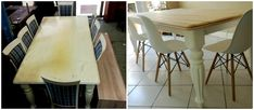 This table was wrapped with a plastic veneer. The veneer was removed, table top premiered and I applied a white wax whereafter it was sealed for durability. I painted the legs and sub-structure white with Tjhoko Cloud White and sealed with glaze coat. #refreshed #renewed