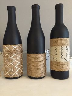Chalk Painted Wine Bottle Vases by torches123 on Etsy #winebottle