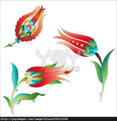 Ottoman art flowers three