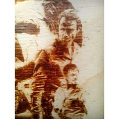 Rick Grimes the Walking Dead pyrography.