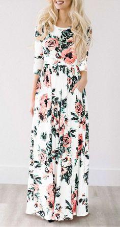 Retro 80's, cabbage rose print, dropped waist. $33.99 Ecstatic Harmony White Floral Print Maxi Dress