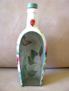 Glass Bottle Decorative Table Flower Vase Decor Handmade Summer Home Patio Gift #Handmade #Contemporary Bottle Terrarium, Terrarium Containers, Table Flowers, Flower Vases, Vases Decor, Art Decor, Glass Bottles, Glass Vase, Handmade Decorations