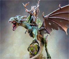 Glade Lord on Forest Dragon Warhammer Warhammer Wood Elves, Warhammer Paint, Warhammer Aos, Warhammer Fantasy, Fantasy Battle, High Fantasy, Fall Color Schemes, Wood Elf, High Elf