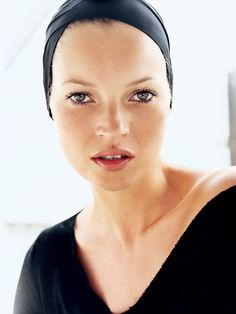 Kate Moss's wide-set eyes are one of her many striking beauty features. Photographed by Mario Testino, Vogue, August 2004.