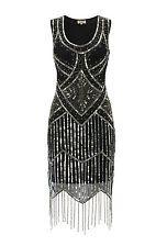 UK8 US4 Black Vintage 1920s Flapper Gatsby Downton Abbey Fringe Beaded Dress