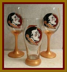 Hand painted FSU wine glasses