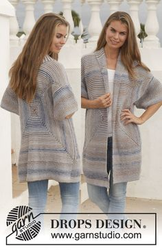 """Blue Maze - Knitted DROPS jacket in garter st with shawl collar in """"Delight"""" and """"Alpaca"""". Size: S - XXXL. - Free pattern by DROPS Design"""