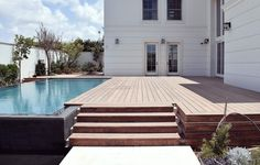 Accoya wood used for swimming pool deck and underwater deck