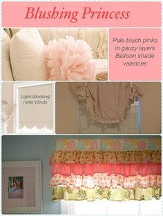 I like the idea of ruffle curtains Pale pinks for a little girl's room