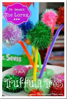 "Dr. Seuss's Truffula Trees from ""The Lorax"" -- fun and easy activity for young children at www.TheSeasonedMom.com"