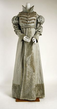 Silk pelisse with military-inspired braid trim and plush cuffs, hem, and front opening, American, ca. 1820.