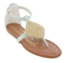 Modern Rush Womens Bella Mesh Chainmail Rhinestone embellished T strap flat sandal * Be sure to check out this awesome product.