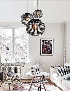 JJ Moderno LED luci pendente Fixture Max 60W Paese metallo designer illumina Ciondolo Soggiorno per soggiorno Kid camera da letto camera da pranzo: Amazon.it: Illuminazione