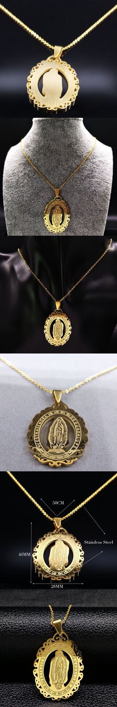 2017 Gold Color Virgin Mary Necklace for Women Hip Hop Big Stainless Steel Necklaces & Pendants Men Jewelry Juses Piece N69176B
