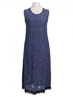 Damen Spitzenkleid mit Seide, blau von Spaziodonna bei www.meinkleidchen.de