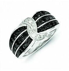 Sterling Silver Black & White Diamond #Ring