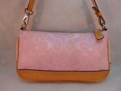 Small Coach 6094 Signature Pink Jacquard & Leather Trim Demi Purse Wristlet Bag #Coach #Baguette
