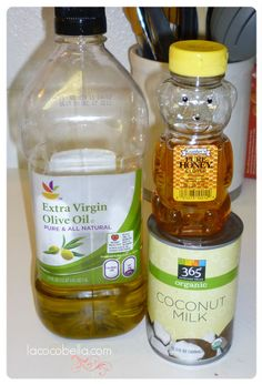 Deep conditioner treatment: EVOO, honey, and coconut milk.....will know in the am how this works #fingerscrossed