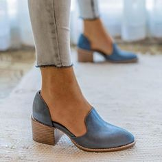 Women Spring Chunky Heel Casual Loafers Slip On Shoes - Boot Heels - Ideas of Boot Heels - Women Spring Chunky Heel Casual Loafers Slip On Shoes rosynova How To Wear Loafers, Loafers Outfit, Casual Loafers, Casual Boots, Chunky Heels Outfit, Flat Shoes Outfit, Outfit Work, Casual Heels Outfit, Cute Shoes Flats