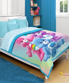 Care Bears Comforter by Idea Nuova. Don't usually like 'character' things, but we love the CareBears! Girls Bedding Sets, Bedroom Sets, Comforter Sets, Bedroom Wall, Girls Bedroom, Baby Bedroom, Bedrooms, Bed Ensemble, American Greetings