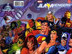 The cover to JLA/AVENGERS #1, rendered by George Perez  and colored by Tom Smith.    ((Characters © either DC Comics [& thus Time Warner] or Marvel Comics/Entertainment [& later Disney, methinks].))