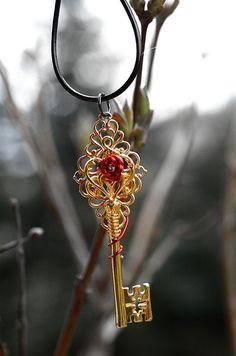 Golden Celtic Rose Key Necklace