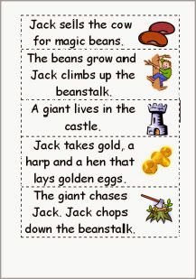Jack and the beanstalk story word order - ESL worksheet by wimbles Fairy Tale Activities, Literacy Activities, Fairy Tales Unit, Story Sequencing, Sequencing Cards, Fairy Tale Theme, Traditional Tales, First Grade Reading, Reading Worksheets