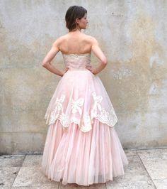 1950s strapless princess pink wedding/ prom by circa1955vintage, $464.00