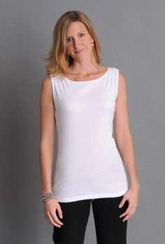 Tops and tees in the Three Dots Fitted Collection are narrower through the body for a slim look. Flat lock stitching adds durability and a unique, sophisticated finish. Three Dots, Basic Style, Every Woman, Spring Fashion, Basic Tank Top, Slim, Clothes For Women, Tank Tops, Tees