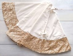 Christmas Tree Skirt  Velvet and Champagne Sequin by TwentyEight12