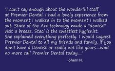 If you are wondering if Premier Dental would be a great fit for you and your family? See what a recent new patient had to say about her visit with us. Thanks Sherri!