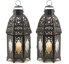 2 Moroccan Candle Holders Hanging  Black Iron Lanterns ~ new item available from www.bonanza/booths/crittercreekranch   For table top or hanging, this pair will look great in any living room, bedroom, library or office.  I'd sure like to receive a pair for a gift too !!