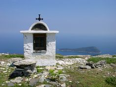 A small chapel at the top of mountain Ipsario in Thassos