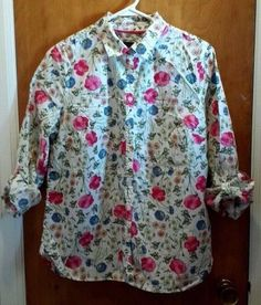 Talbots Shirt Womens Size 12 Button Front Roll Up Sleeves  #Talbots #Blouse #Casual