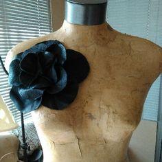 Black leather oversized rosette magnet pin Black leather oversized rosette magnet pin Jewelry Brooches